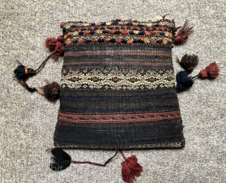 Nice antique complete flatwoven Baluch bag (stuffed)