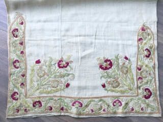 Complete antique Epirus embroidered bolster cover ca 1820 two sides published In Roderick Taylor's  embroidery of the Greek Islands light staining to one side