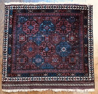Fine antique Baluch bag face with unusual design ca 1880 All wool size 82 x 80 cm side cords replaced just washed colours all seem natural  Nice collectible piece