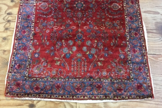 Really lovely antique all silk kashan rug ca 1880 natural dyes very fine but unfortunately cracking around outside borders and has two splits and a worn fold.  It is lightly tacked  ...