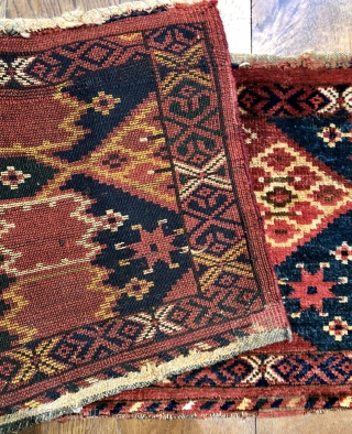 Antique Ersari Beshir trapping late 19 c size 1.39 x .40 m Unusual border with kepse type anchors. All wool and natural dyes excellent condition just old repairs to two  Corners presumably where  ...