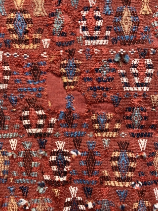 Rare antique qashqai bokche ca 1880.  Used to wrap gifts at the wedding ceremony lovely size and unusual warp faced brocade technique.  Several  holes have been backed and the  ...