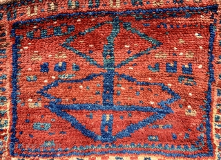 Very unusual antique gabbeh style luri bag ca 1900 Full pile super saturated natural colours interesting back size 44 x 36 cm