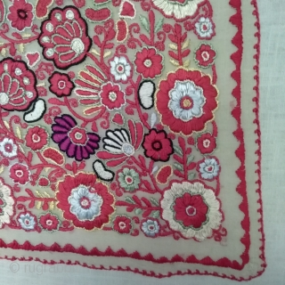 Eastern European embroidery, about 1900. Silk embroidered on wafer-thin, transparent fabric. Very fine work. Probably once a folklore textile.Beautiful colors, good condition, small restored area, small holes, but do not disturb the  ...