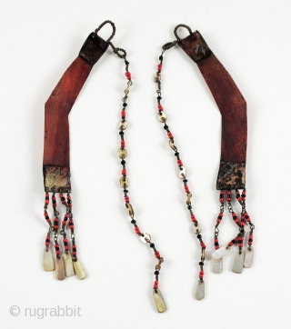 Very fine pair of old Batling Earrings from Northern Luzon, Philippines.  Traditionally worn exclusively by Ilongot men who had taken a head.  Most commonly seen in Museum collections around the  ...