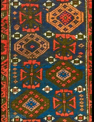 Antique Mina-Khani Baluch rug with character. A good 100-year-old piece with all natural dyes and deep corrosion of black wool rendering good relief and thus a sculptured effect to the field and  ...