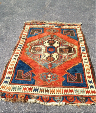 19th century Karapinar rug from Central Anatolian. About 48inches x 69inches. Could use a good cleaning.