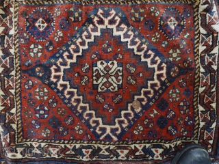 "PRICE REDUCED FOR QUICK SALE!!! A South Persian bag with beautiful kelim. Look at that fantastic aubergine. Measures close to 28"" x 47"". I believe the stains in the kelim should be  ..."