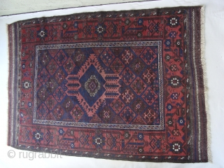 A Rare and Cute Antique Miniature of a Baluch Main Carpet. Measures 40inches x 58inches/101.6 cm x 147.3 cm including Kelim ends. Great border and with great aubergine. It is the smallest  ...