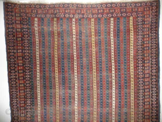 Beautiful old mid 19th cent. Ersari type rug with rare cane design, original sidecords, areas of old repiling, 7ft x 4ft 9in approx.