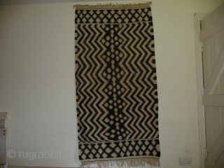 Unusual eye-dazzler kelim possibly Uzbek ? all cotton , good condition, approx. 6ft5 in x 3ft3in