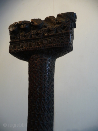 SOLD Pacific Islands , Superb handle from a ceremonial paddle, early 19th cent.good colour and patina , completely covered with intricate carving, 3ft 3ins.