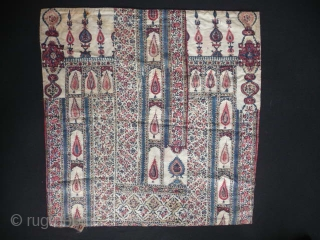 Rare and charming 19th cent. suzani boche,composed of four panels and backed with old Persian or Indian printed cloth, approx. 58cm square.
