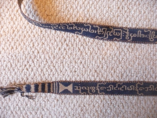 Burma, 19thcent. A beautifully woven cotton band used for binding sacred texts 10ft x 1ins.Excellent condition apart from small damaged area in the centre.