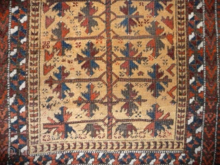 "SOLD Charming small Baluch prayer rug; 19th cent.; 4ft x 2ft7ins. Nice wool , good condition, ""truly tribal"""