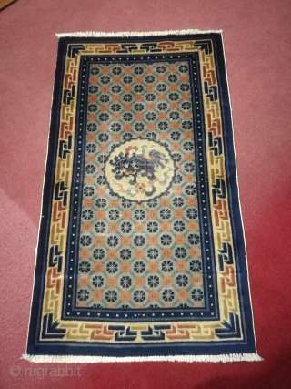 Antique Chinese carpet. Size 4.5 by 2.5 feet.