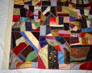 Vintage crazy quilt .good condition Material . Silk cotton velvet and silk embroidery. Size. 5 by 5.9 feet.