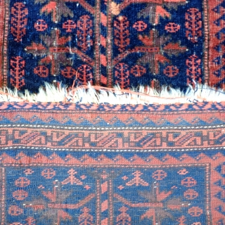 A 19th Century Baluch Balisht Size 92 x 57 cm  With very silky wool and subdued colours this probably quite an early piece. In overall fair to good condition, with a small repair to  ...