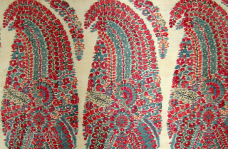 A,1800 century indian mugal Kashmir shawl fragment.100 x 84 cm.very early and excellent shawl.colors are very nice and the condition of fragment is very good.....!