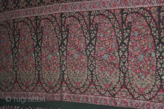 antique 1800 century indian kashmire shawl....with rare black color & beautiful which is very rare to find....340 cm by 150 cm.....!