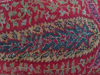 Antique indian kashmir long shawl with amazing design..In Some places the colours are not so good but allover the concept is very rare with large moon Centre...ether the colours are very nice  ...
