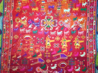 a 19th century banjara textile from india, with lots of figures and with one pillow cower.colors & condition are very good which is very rare to find in this kind of textiles....! size  ...
