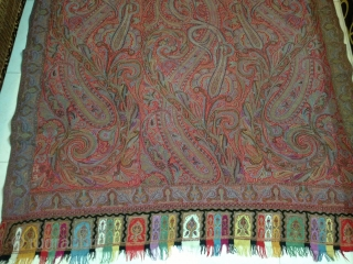 Indian 19th century kashmiri long shawl..colors are very good in perfect condition, size 320x140.