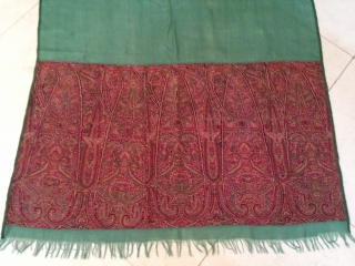 Antique indian 1850th century kashmir long stole in rare green colour Center..!