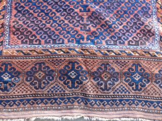 """Nice large Baluch in great shape. Rare field design c. 1900. 8'10"""" x 5'7"""". 270 x 170 cm."""