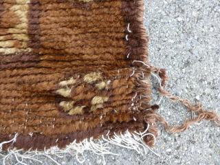 "Mongolian rug, 150 x 80 cm / 5' x 2'8""."