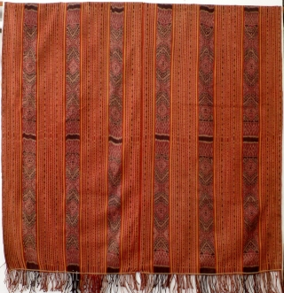 Large  men's wrap cloth, selimut, Biboki/West Timor, Indonesia, ca. 1970, Ikat, commercial yarn, handwoven. Two symmetrical parts, stripes of various widths, warp ikat patterning. Measurements: ca. 190 x 100 cm