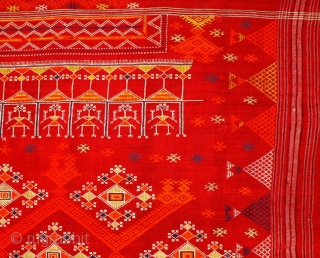 Odhani,  embroidery on  fine red handwoven cotton cloth, Rajasthan/India, around 1900. Large blanket  bordered by series of human figures on both sides, centre field covered with geometrical designs. Size  ...