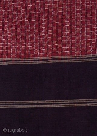 Telia rumal, set of two cloths, handwoven fine cotton, natural dyes, traditional weft ikat, Chirala/ Andhra Pradesh/ India, ca. 1900
