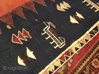 Antique Karabagh Verneh, mid 19th century, very good condition. Size ~170x190cm. Wool on wool, all natural dyes, whites are cotton.