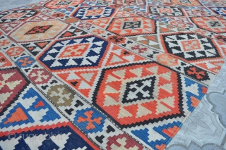 """Semi antique Caucasian Shirvan kilim, ~80-100 years old. Wool on wool. Size 150x290cm, 4'11"""" x 9'6"""". It has some wear, as seen in the photos, some color run, but good overall condition."""