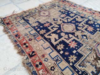 """Antique Caucasian Rug, Kuba Shirvan Lesghi Star, condition as seen at pictures, a lot of wear, but it still has its charm! ~Size 3'4""""x4'10"""" (100x150cm)."""