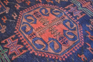 Old Caucasian Kuba soumak carpet of traditional medallion design of good size and colour. Circa 1920. Wool on wool. Execellent condition. Size ~240-400cm 8x13ft