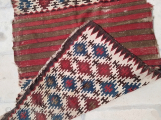 """Antique 1880 Caucasian Shirvan Saddle bag panel mafrash kilim rug 3'4""""x6'3"""" 100x190cm Condition as seen at pictures, a lot of wear. Wonderful colors!"""