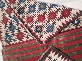 "Antique 1880 Caucasian Shirvan Saddle bag panel mafrash kilim rug 3'4""x6'3"" 100x190cm