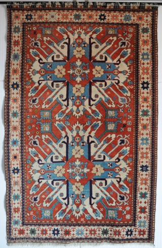 """Caucasian Chelaberd Eagle Kazak Karabagh rug, early 20th century, excellent condition, size 4'8""""x7'3"""" (142x220cm).  Wonderful natural dyed colors, wool on wool, original sides and ends, good pile. More photos on request."""