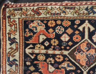 Khamseh bag front, Iran, Fars province. Antique, circa 1870. 59 cm x 53 cm. Tribal rug from Persia. Hand knotted. Wool on wool. Natural colors. Typical tribal representations of birds. Fine weave.  In my  ...