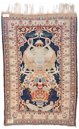 Lot 48, Heriz silk, 204 x 134 cm (6ft. 8in. x 4ft. 5in.), starting bid Euro 5.000, Auction Saturday January 27th 5pm, https://www.liveauctioneers.com/item/58568915_heriz-silk
