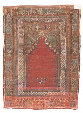 Lot 14, Mudjur Prayer Rug, 5 ft. 1 in. x 3 ft. 10 in., Turkey, ca. 1870, condition: good, ends restored, some repairs and reweavings, Warp: wool, weft: wool, pile: wool, Provenance:  ...
