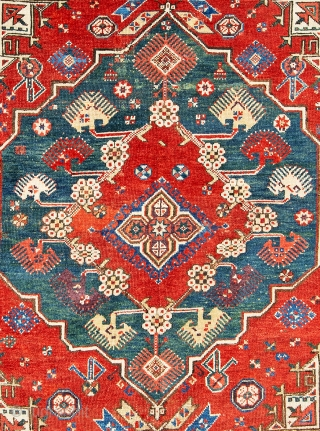 Lot 22, Dazkir, 5 ft. 2 in. x 4 ft. 4 in., Turkey, first half 19th century, Condition: good, pile partly low, some small, repairs and reweavings, Warp: wool, weft: wool, pile:  ...