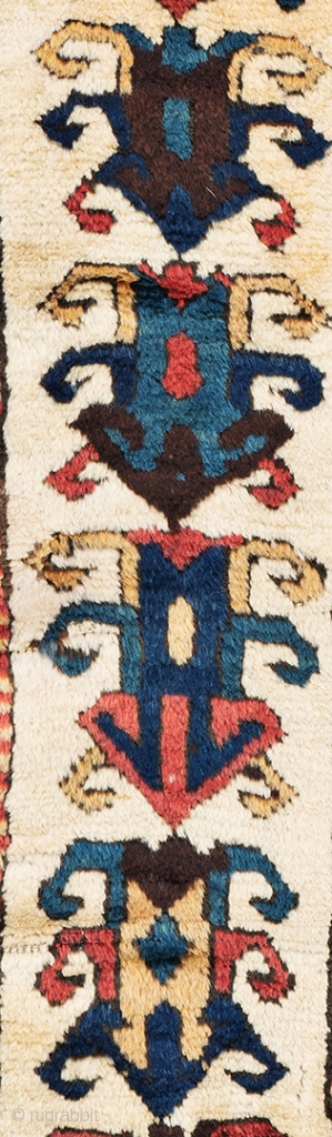 Lot 26, Zakatala, 4 ft. 11 in. x 2 ft. 11 in., Caucasus, second half 19th century Condition: good, one repair in the right border, few small repairs, Warp: wool, weft: wool, pile:  ...