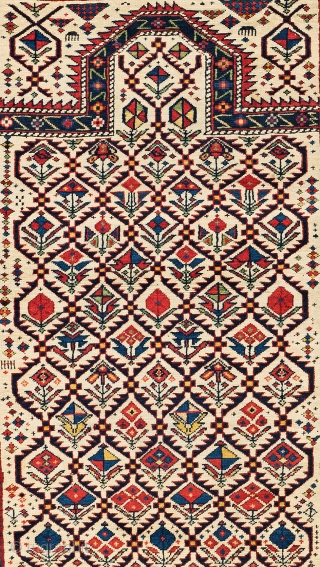 Lot 6, Daghestan Prayer Rug, 4 ft. 9 in. x 3 ft. 8 in., Caucasus, second half 19th century, Condition: very good, minor signs of use, Warp: wool, weft: cotton, pile: wool, Provenance: Theo Häberli private collection,  ...