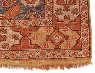 Lot 41, Transylvanian Rug with Cartouche Border, 5 ft. 7 in. x 4 ft. 2 in.,  Turkey, late 17th century, Condition: good according to age, pile partly low, some old repairs, dark  ...