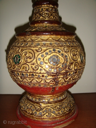 An extremely rare, well preserved, Mid19thCentury Lacquered Gold-gilt Water Vessel with Cup Cover. 