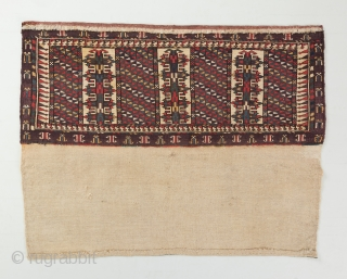"""Yomut or P-chodor torba with a rare and very interesting design. Has a hot red. Complete and in great condition with back intact. 2'9"""" x 1'11"""".  visit our website for more rare woven  ..."""