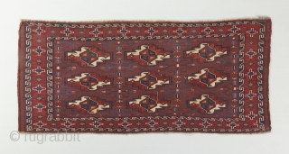 """Yomut turbo with very good age. Prob mid 19th. Beautiful aubergine background color and great blues and green-blues. Rare secondary Gols. 3'8"""" x 1'8"""".  Visit our website for more rare woven art: www.bbolour.com"""